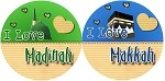 Designer I Love Makkah / Madinah Buttons / Badges (pin back)